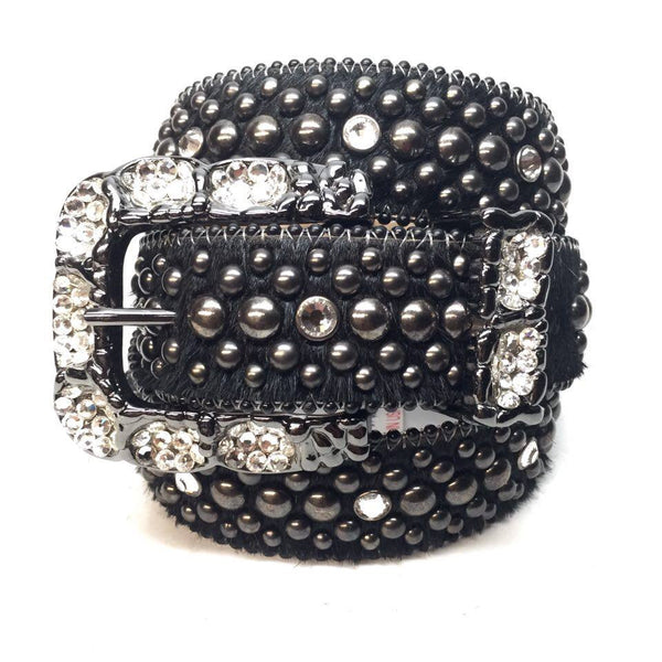 B.B. Simon Black Pony Hair Swarovski Crystal Belt - Dudes Boutique