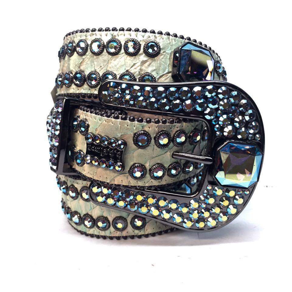 B.B. Simon Lime Python Crystal Belt - Dudes Boutique