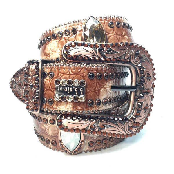 B.B. Simon 'Caramel Candy' Swarovski Crystal Belt - Dudes Boutique