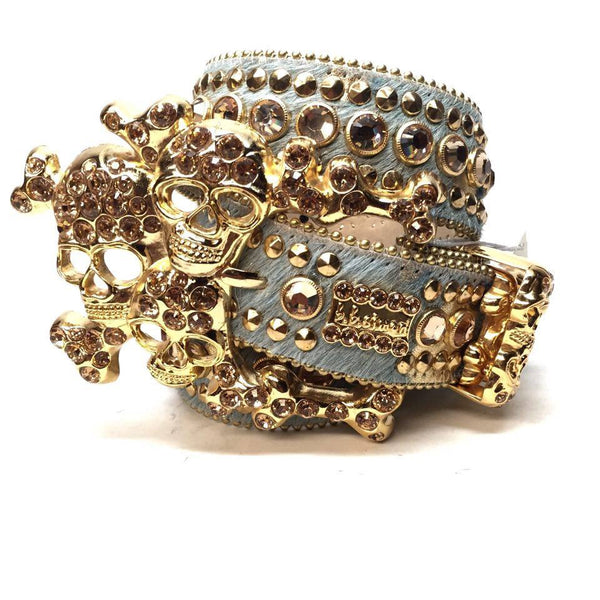 B.B. Simon Gold Skull Pony Crystal Belt - Dudes Boutique