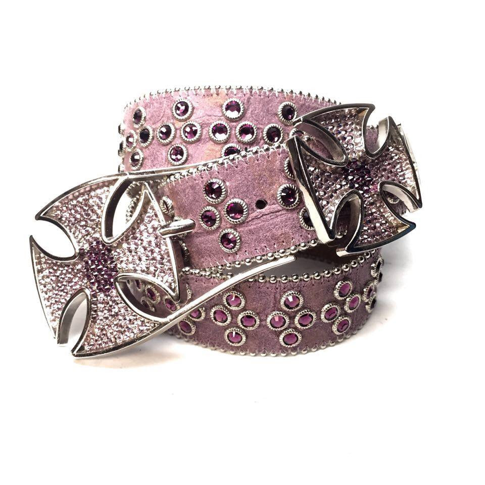 B.B. Simon Leather Cross Pattée Swarovski Crystal Belt - Dudes Boutique