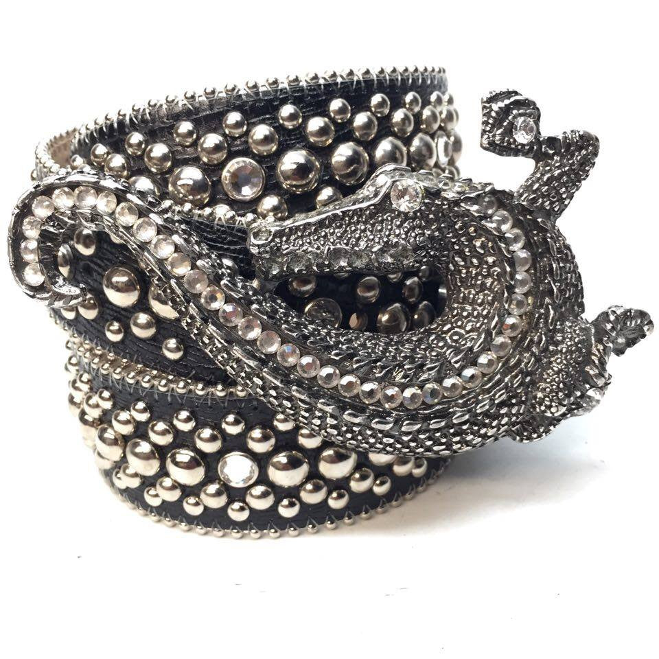 B.B. Simon Black Lizard Swarovski Crystal Belt - Dudes Boutique