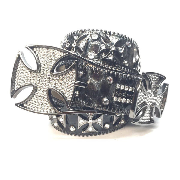 B.B. Simon Black Cross Pattée Swarovski Crystal Belt - Dudes Boutique