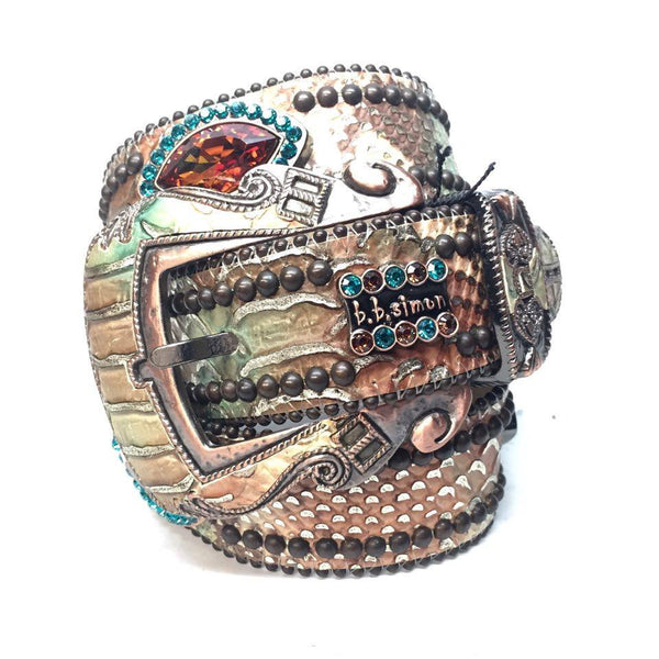 B.B. Simon Python Oval Swarovski Crystal Belt - Dudes Boutique