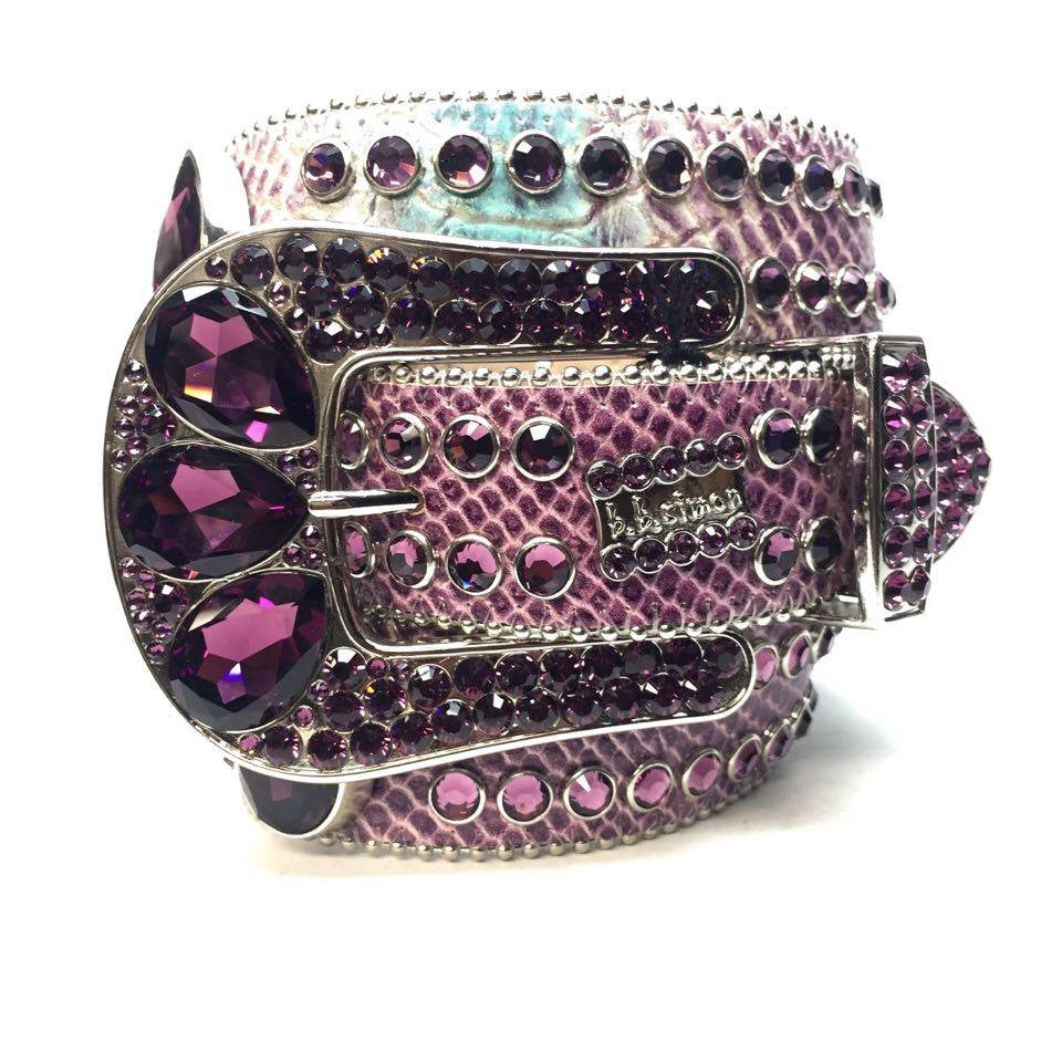 B.B. Simon Purple Python Swarovski Crystal Belt - Dudes Boutique