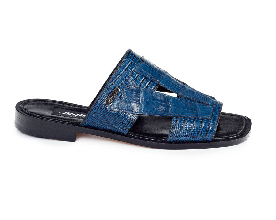 Mauri - 1416 Iris Blue Tejus Lizard/Alligator Body Sandals - Dudes Boutique