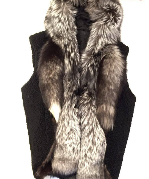 Jakewood Shearling Silver Fox Tail Vest - Dudes Boutique
