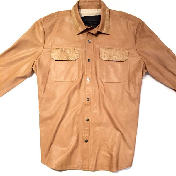 G-Gator - Lambskin Button-Up Shirt with Alligator Pockets