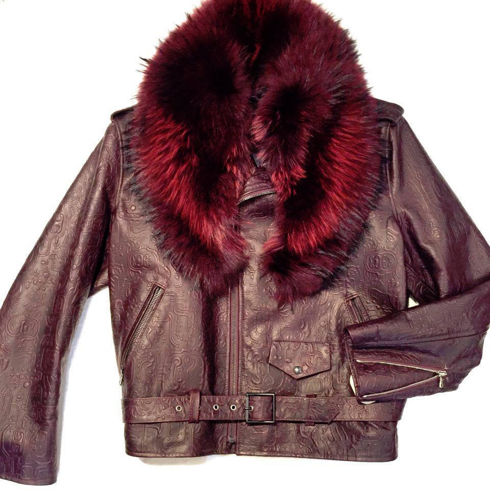 G-Gator Wine Coyote Lamb Skin Biker Jacket - Dudes Boutique