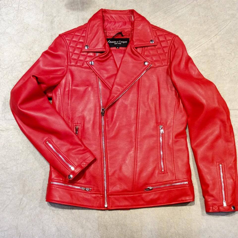 Mason & Copper Red Astor Biker Jacket