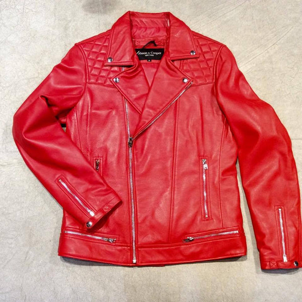 Mason & Cooper Red Astor Biker Jacket - Dudes Boutique