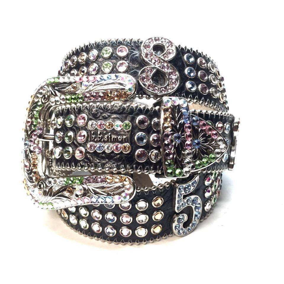 B.B. Simon Fully Loaded 'Numbers' Swarovski Crystal Belt - Dudes Boutique