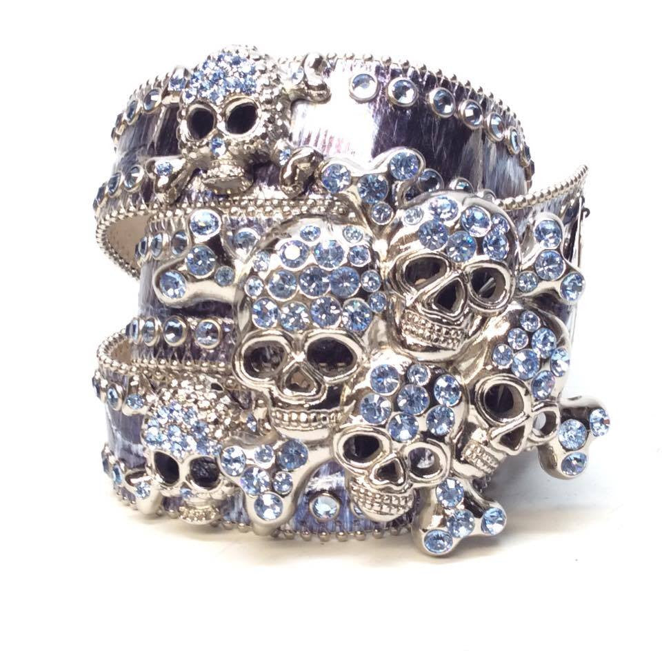 B.B. Simon Metallic Skull Swarovski Crystal Belt - Dudes Boutique
