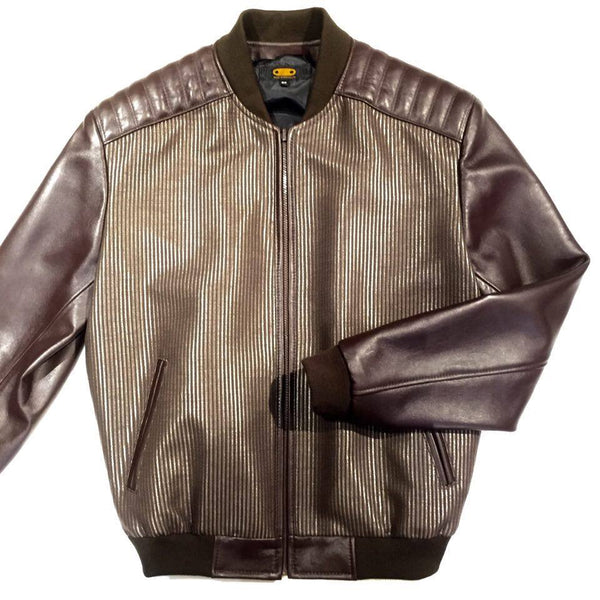 G-Gator Chocolate Lamb Skin/Fabric Varsity Jacket