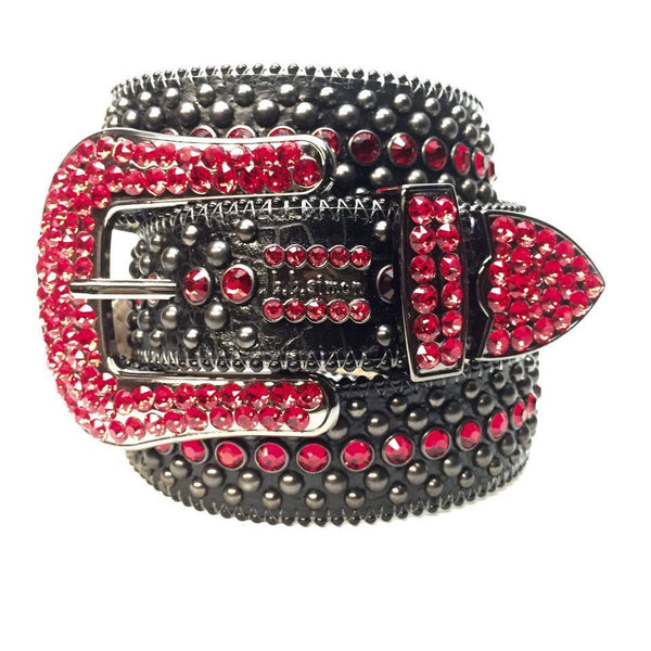 B.B. Simon Black & Red Fully Loaded Swarovski Crystal Belt - Dudes Boutique