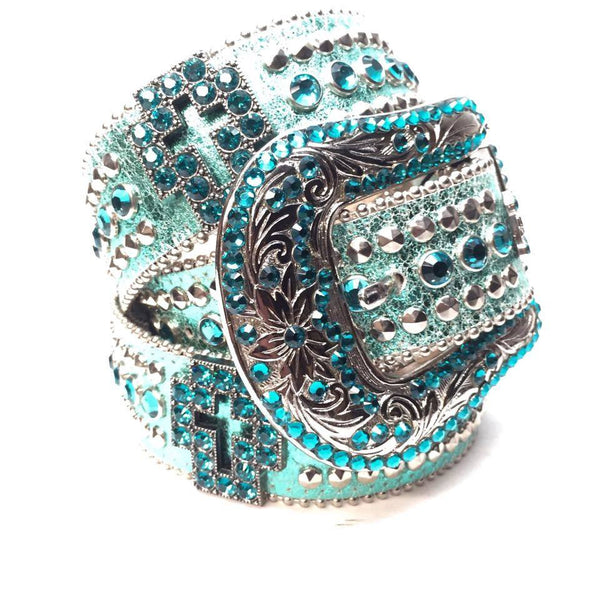 B.B. Simon Metallic Teal Cross Swarovski Crystal Belt - Dudes Boutique