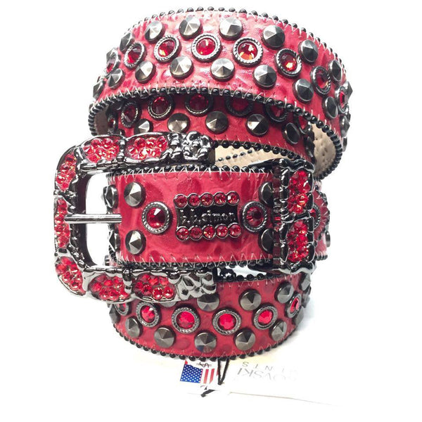 B.B. Simon Red Honeycomb Swarovski Crystal Belt - Dudes Boutique