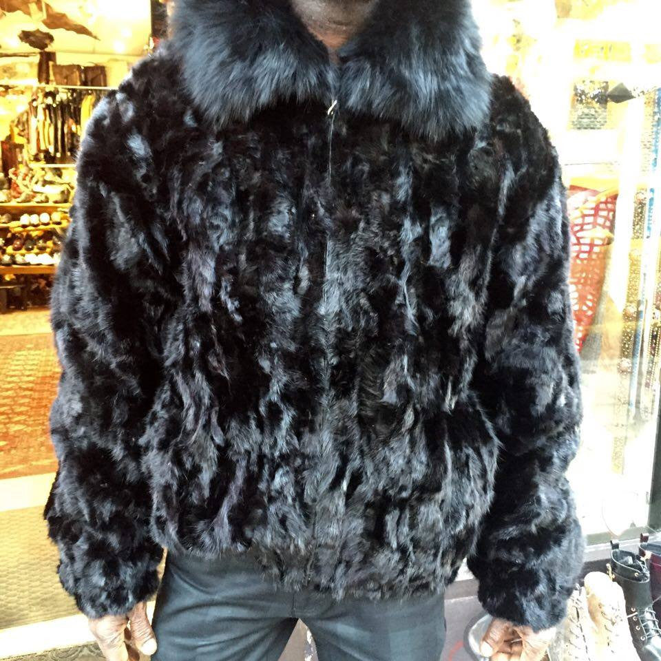 Winter Fur Men's Bomber Black Mink Fur Coat