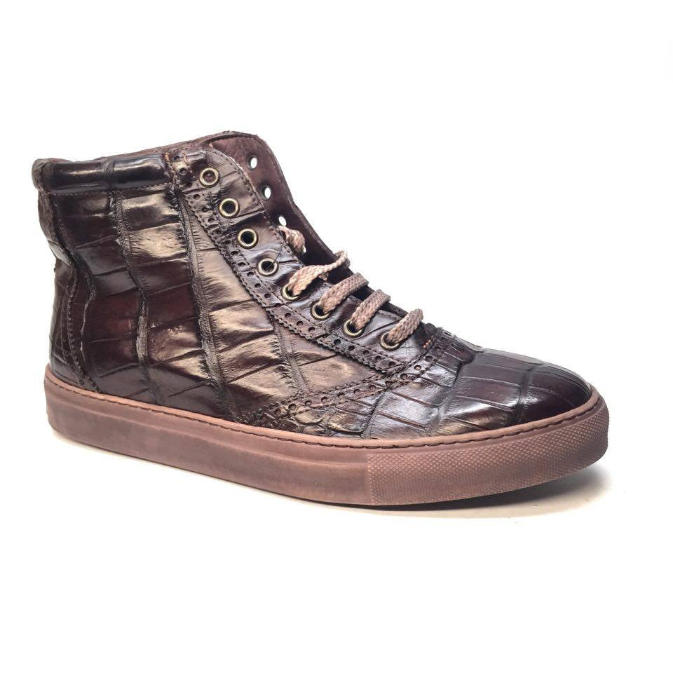 Calzoleria Toscana Alligator Oxford Hightop Sneakers