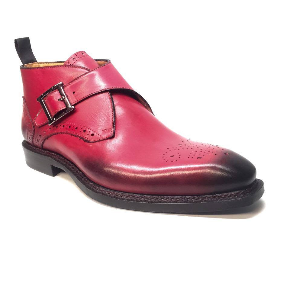 Jose Real Crust Rosso Oxford Buckled Ankle Boots - Dudes Boutique
