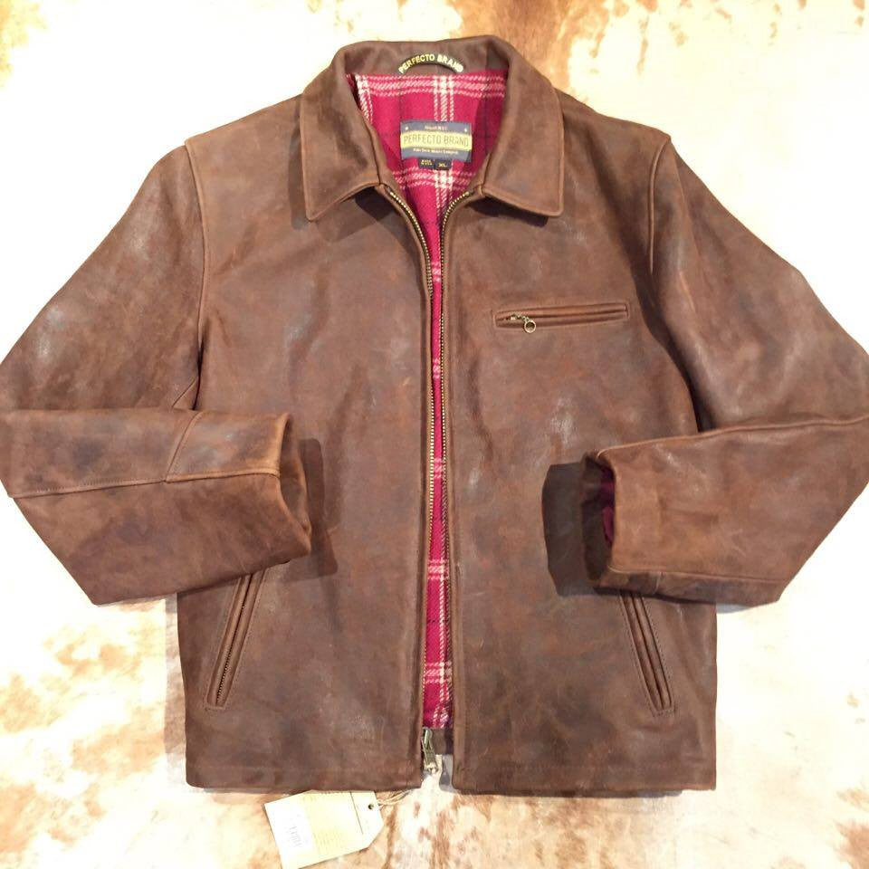 Schott NYC P673 Tobacco 'Perfecto' Strong Cowhide Jacket - Dudes Boutique