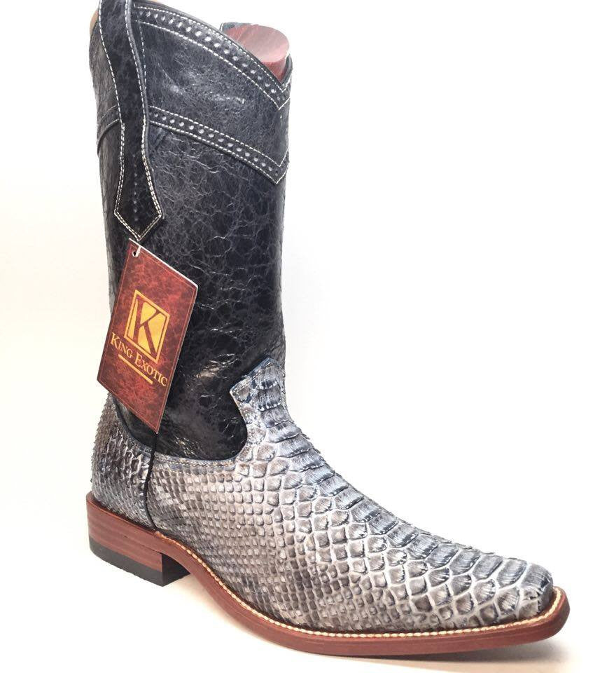 King Exotic Men's Rustic Blue Python Cowboy Boots