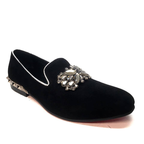 Fiesso FI7030 Crystal Suede Red Bottom Loafers