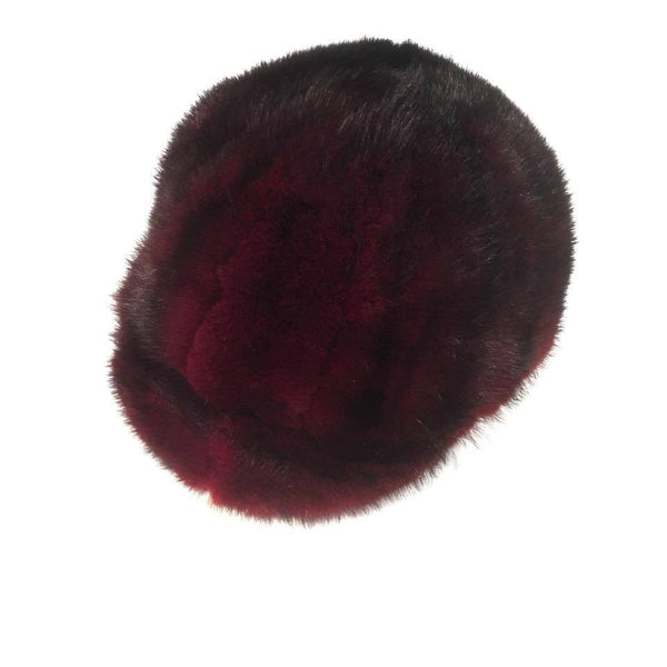 Burgundy Mink Fur Riding Hat - Dudes Boutique