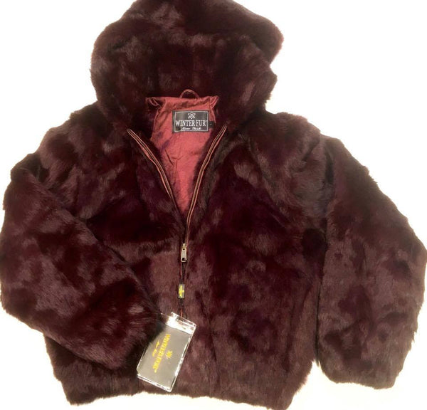 Winter Fur Women's Burgundy Bomber Rabbit Fur Coat