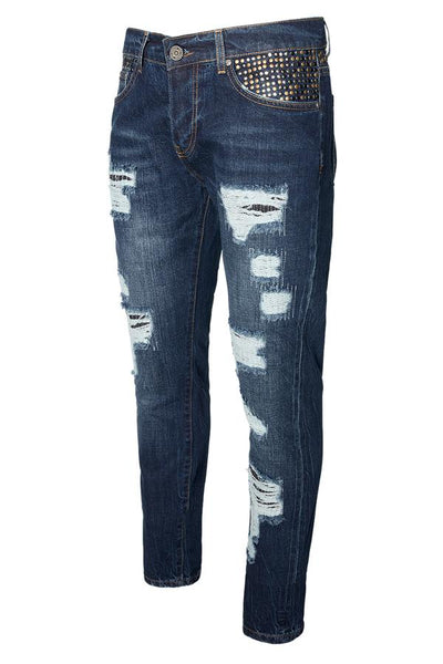 RNT23 Denim Studded Straight Cut Jeans - Dudes Boutique