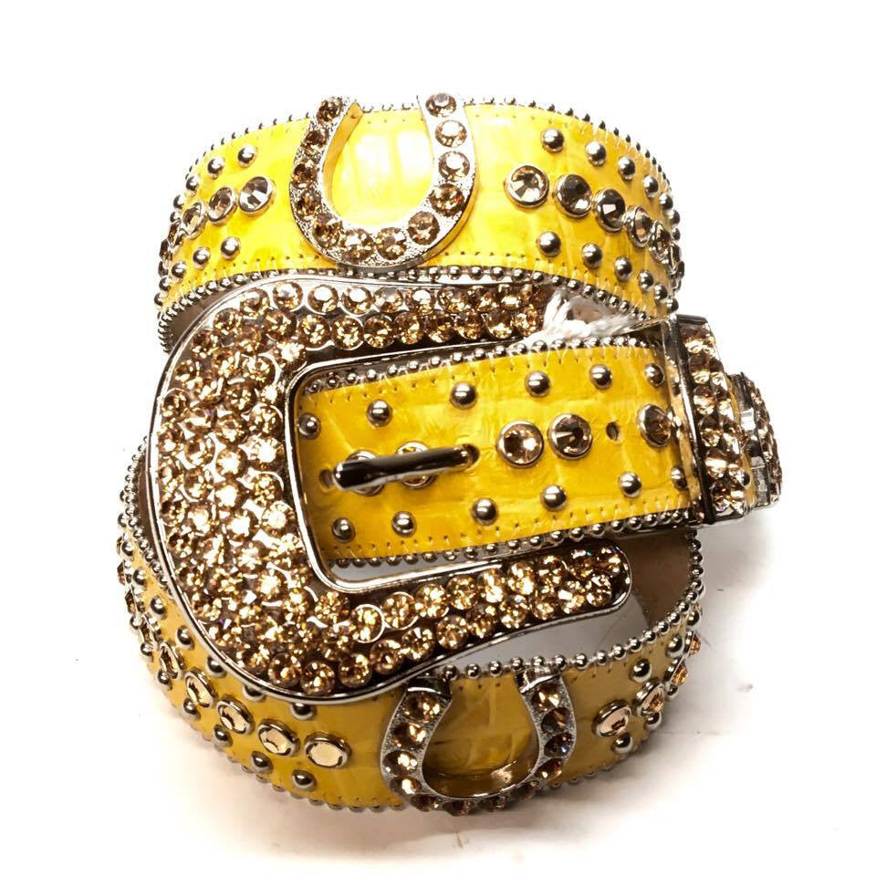 "B.B. Simon ""Yellow Horseshoe"" Swarovski Crystal Belt - Dudes Boutique"