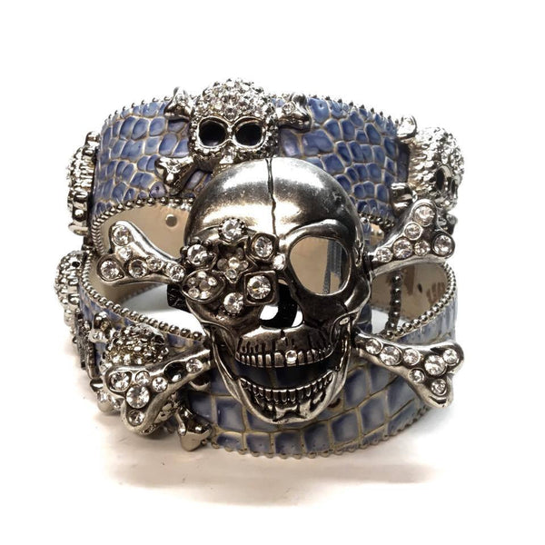 "B.B. Simon ""Blue Croc Pirate"" Swarovski Crystal Belt - Dudes Boutique"