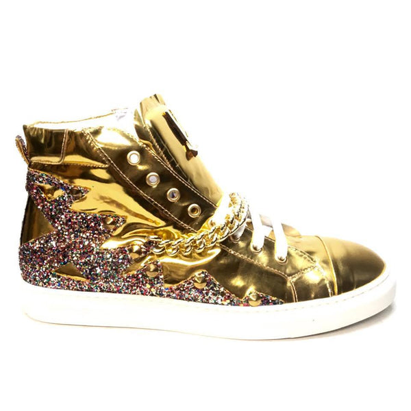 Mauri 6133 Nappa Gold 14k Studded High-top Sneakers