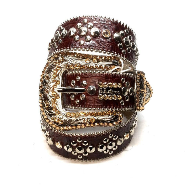 "B.B. Simon ""Chocolate Brown"" Swarovski Crystal Belt - Dudes Boutique"