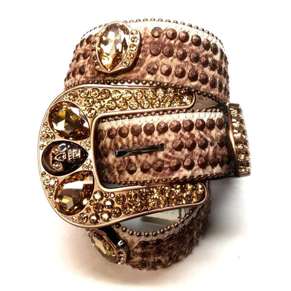 "B.B. Simon ""Alien Studded"" Pony Hair Swarovski Crystal Belt - Dudes Boutique"