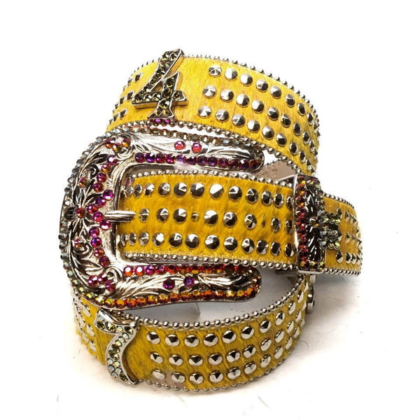 "B.B. Simon ""Yellow Number Belt"" Swarovski Crystal Belt"