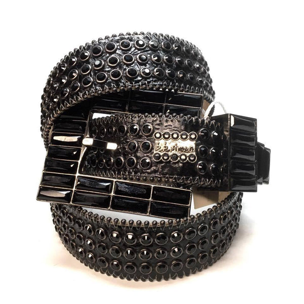 "B.B. Simon ""Black Block"" Swarovski Crystal Belt - Dudes Boutique"
