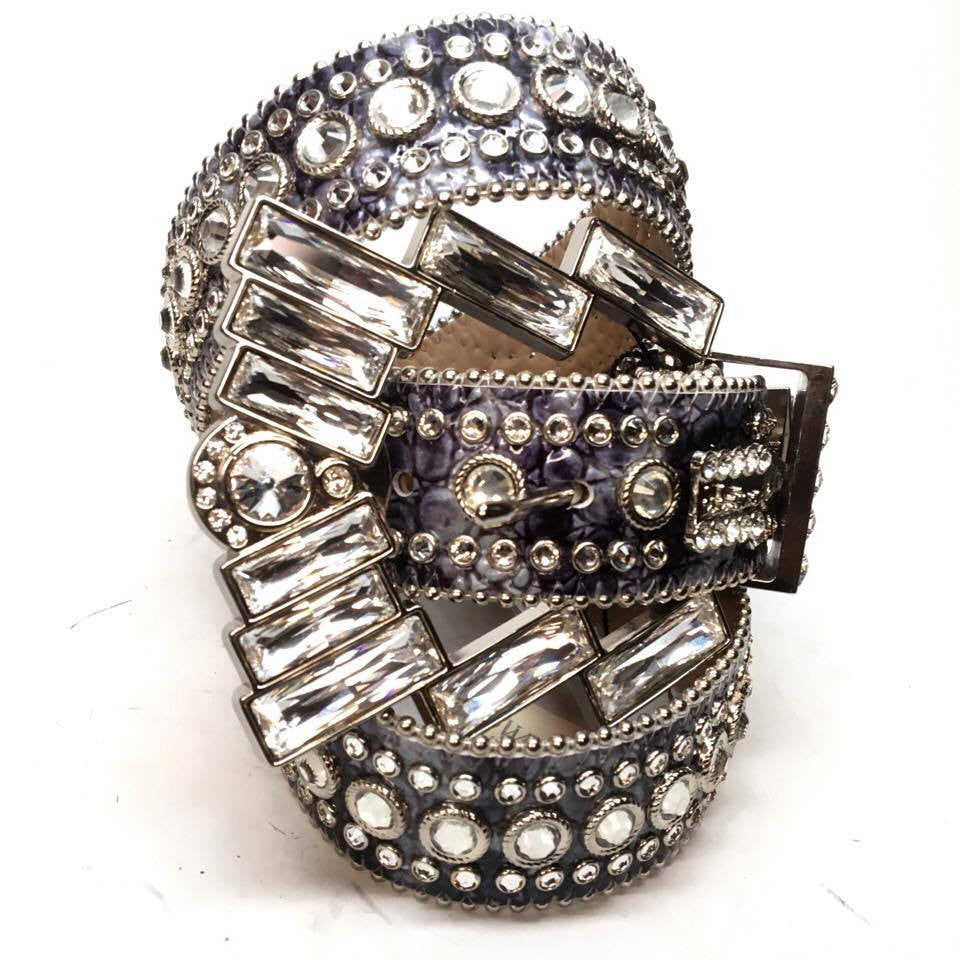"B.B. Simon ""Big Block"" Swarovski Crystal Belt - Dudes Boutique"
