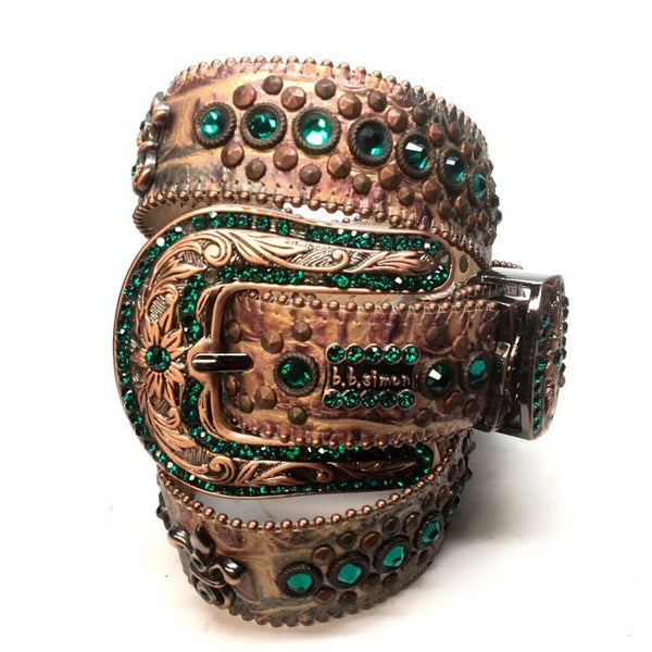 "B.B. Simon ""Bronze Emerald"" Swarovski Crystal Belt - Dudes Boutique"