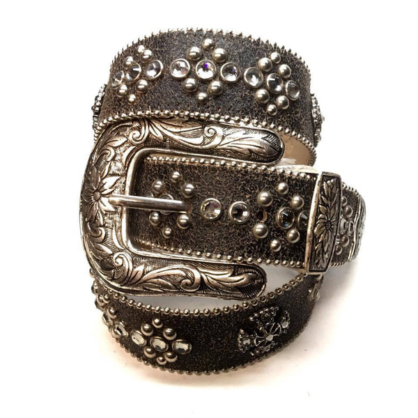"B.B. Simon ""Faded Black"" Swarovski Crystal Belt - Dudes Boutique"