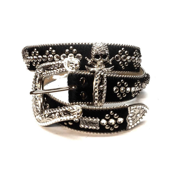 "B.B. Simon ""Black Pony Hair Pirate"" Swarovski Crystal Belt - Dudes Boutique"