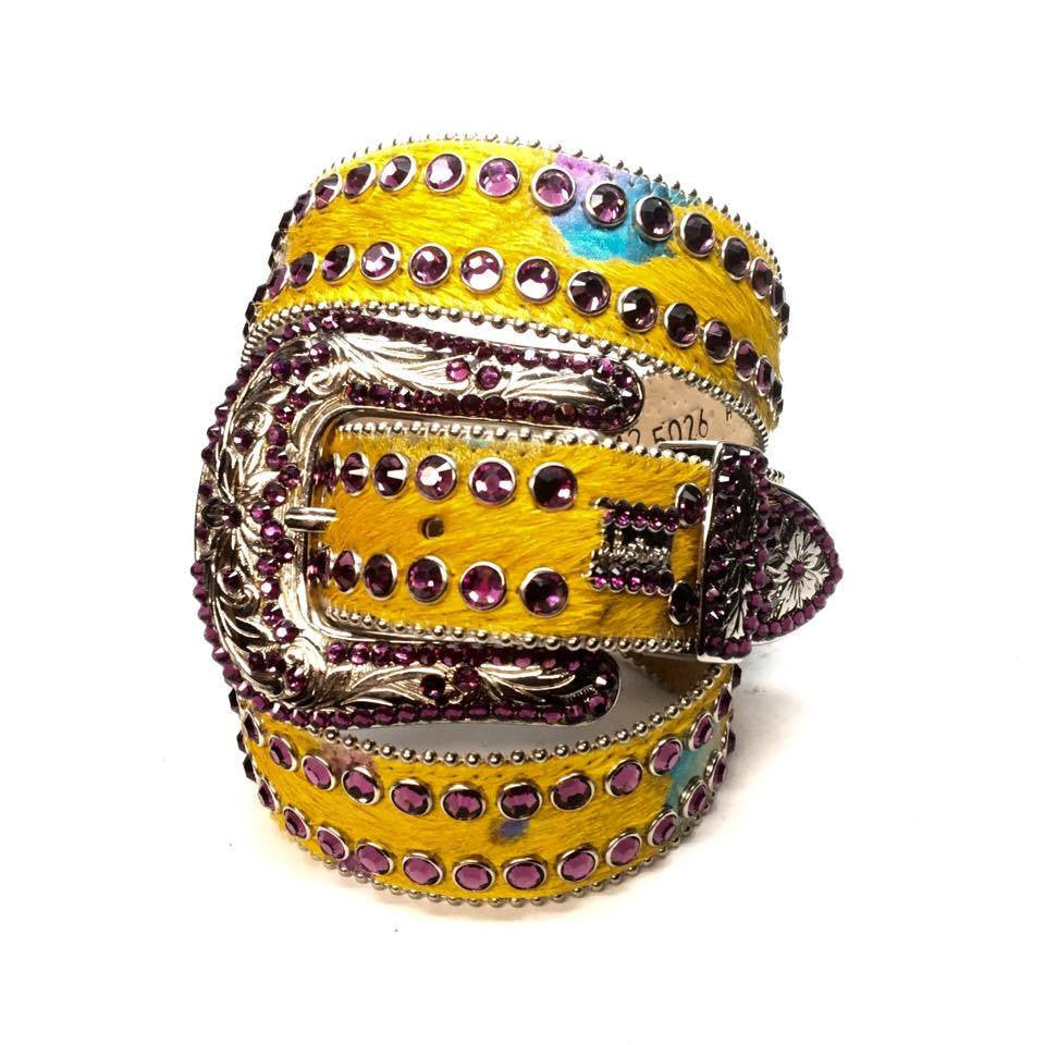 "B.B. Simon ""Yellow Pony Hair"" Swarovski Crystal Belt - Dudes Boutique"