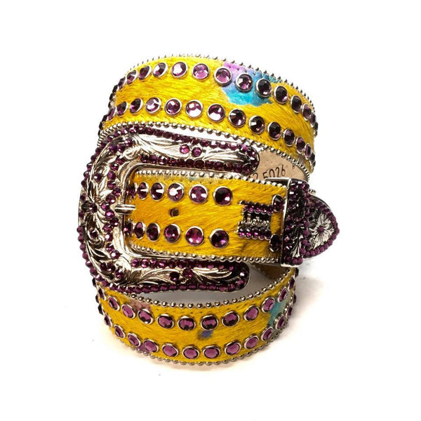 "B.B. Simon ""Yellow Pony Hair"" Swarovski Crystal Belt"