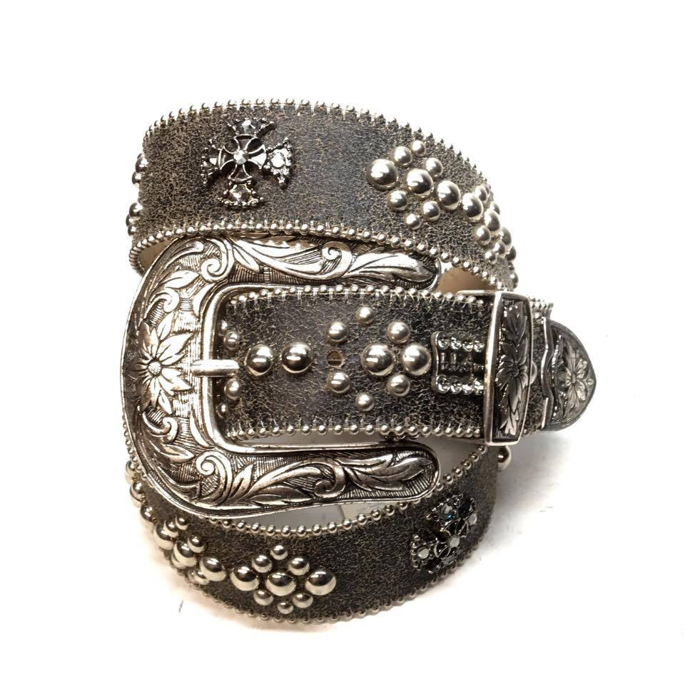 "B.B. Simon ""Black Faded"" Swarovski Crystal Belt - Dudes Boutique"