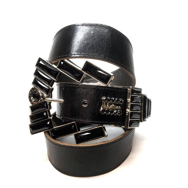 "B.B. Simon ""Big Black Block"" Swarovski Crystal Belt - Dudes Boutique"