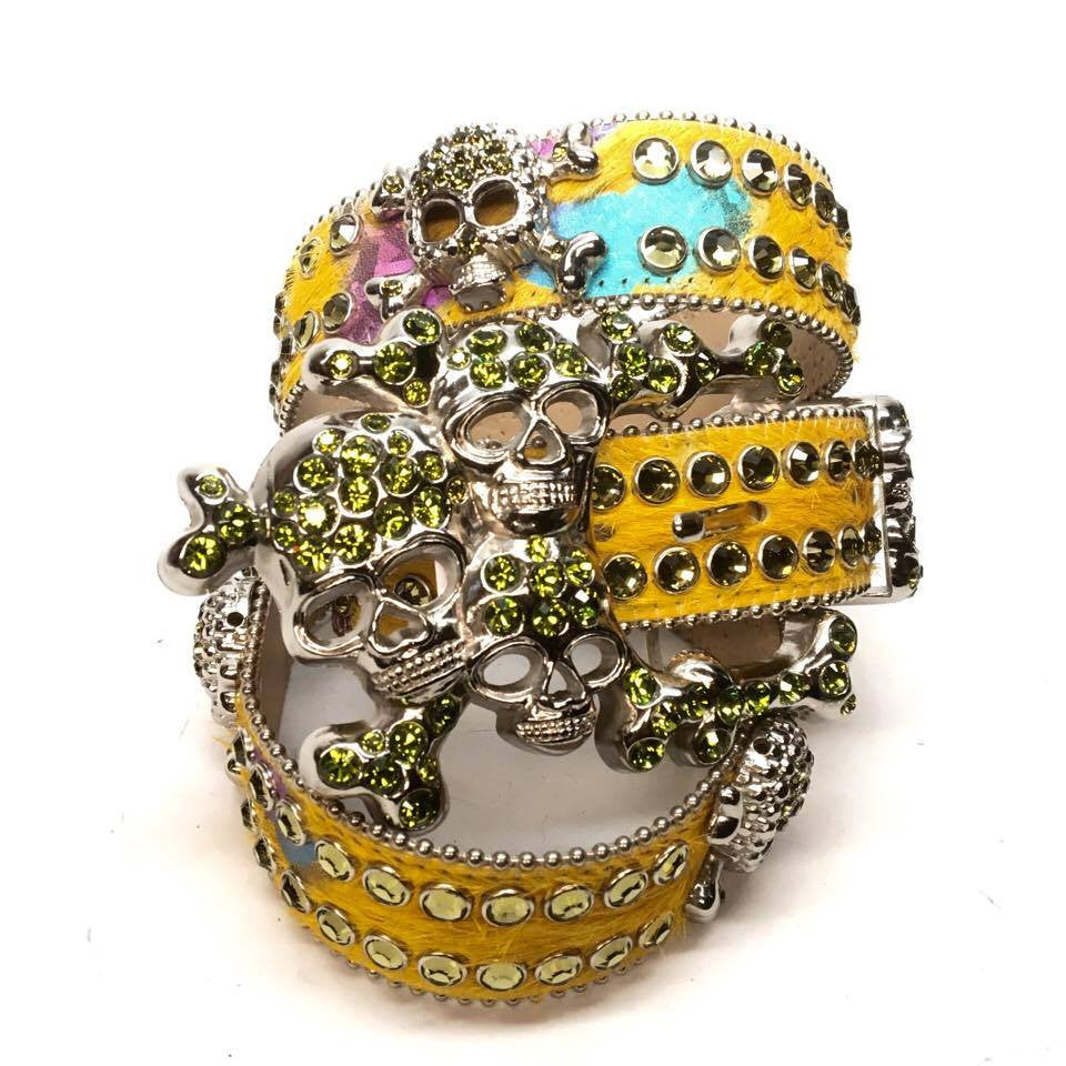 "B.B. Simon ""Lime Multi Skull"" Swarovski Crystal Belt - Dudes Boutique"