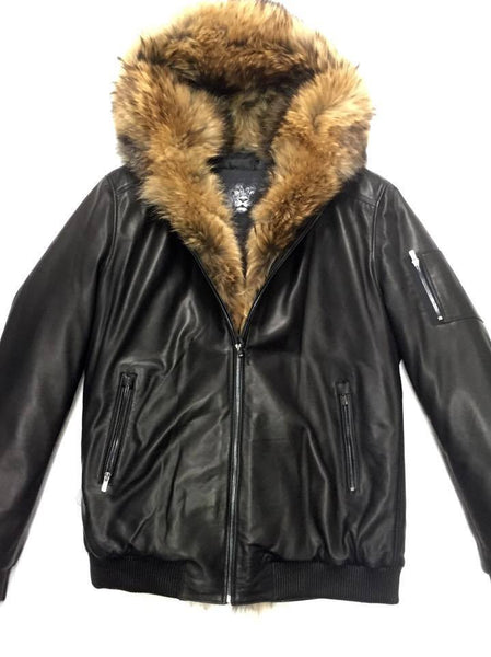 Jakewood Full Fox Black Bomber Jacket - Dudes Boutique