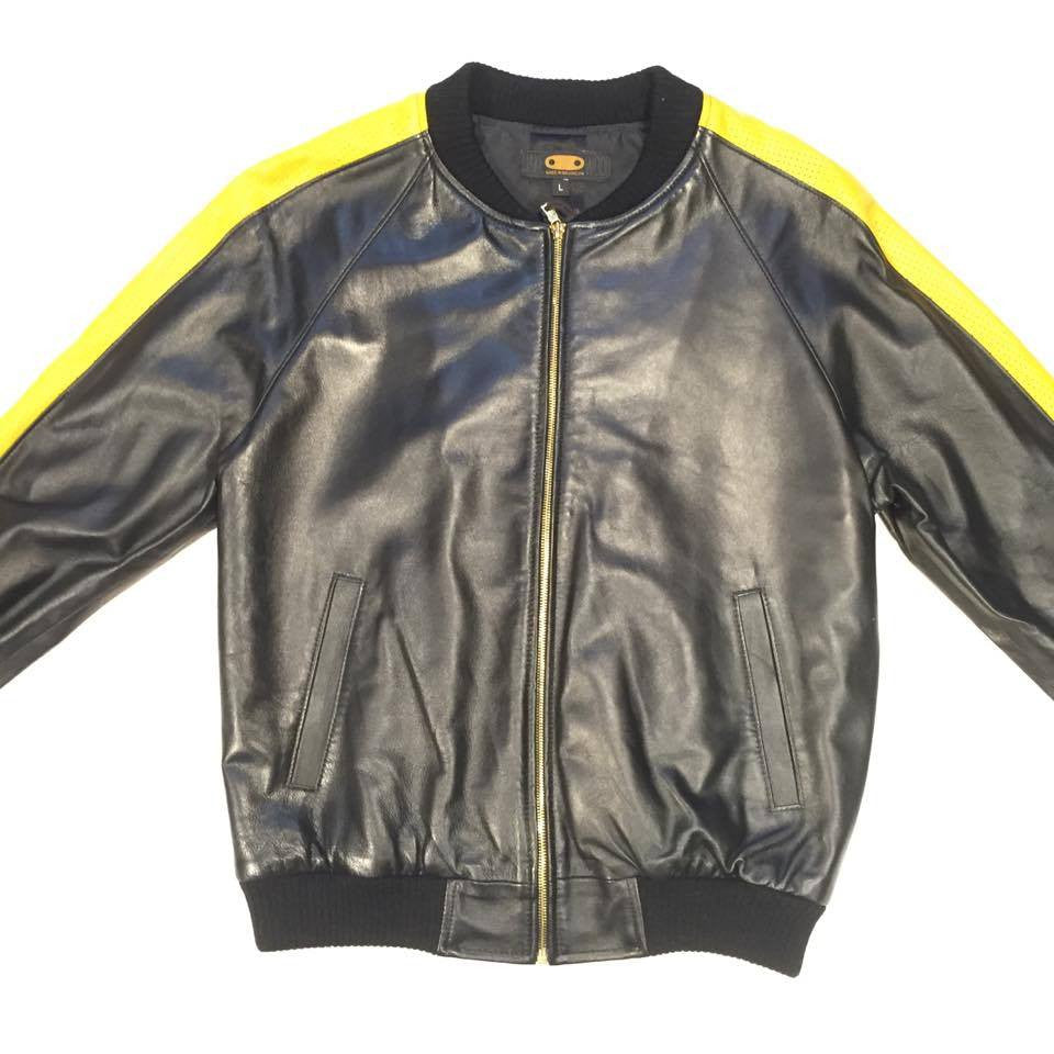 G-Gator Lambskin Varsity Perforated Yellow Jacket - Dudes Boutique