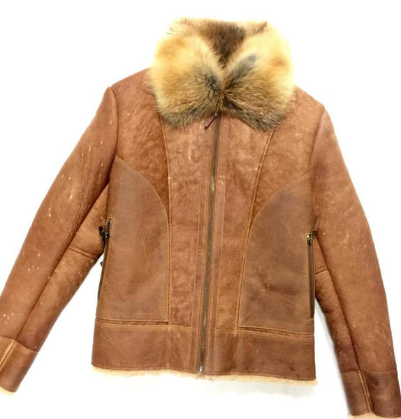Jakewood Tobacco Red Fox Collar Shearling