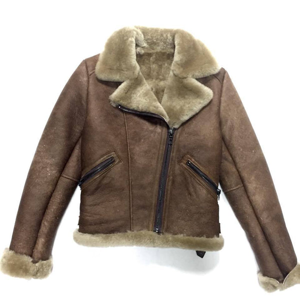 Jakewood Ladies Chocolate Shearling Biker Bomber - Dudes Boutique